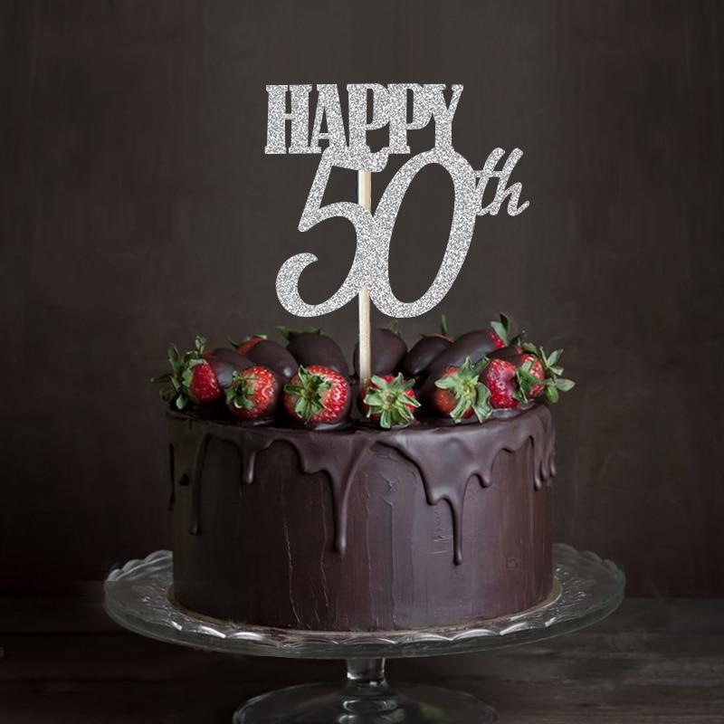 Prime Gold Silver Black Glitter Happy 50Th Cake Topper Fiftieth Birthday Personalised Birthday Cards Veneteletsinfo