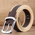 BooLawDee Knitted canvas traveler belt with aluminum alloy buckle men 3.8cm width 110 125cm length multi color 8D002