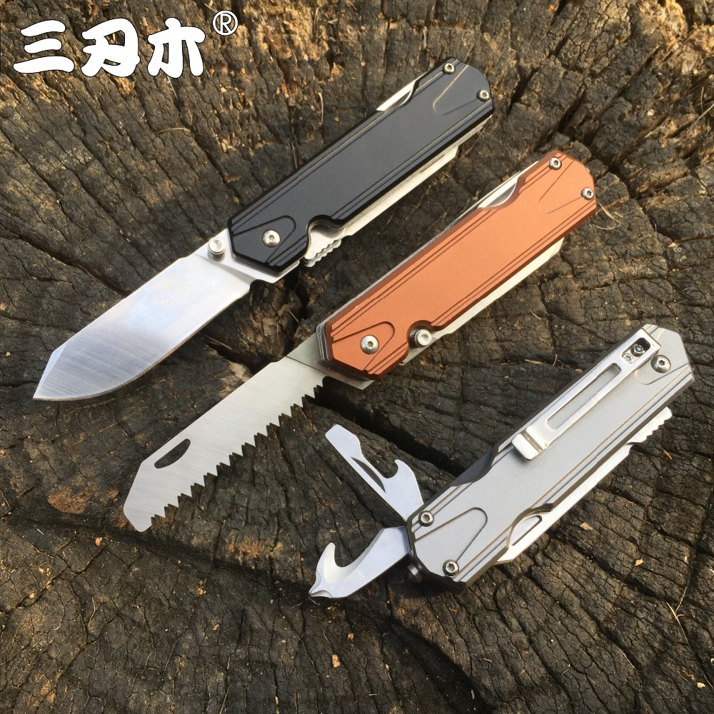 Sanrenmu 7117 Pocket Folding Knife 12C27 Stainless Steel Pocket EDC Survival Outdoor Camping Liner Multifunction Tool Saw Knife