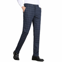 2019 Spring Winter Plaid Men Formal Pants Business Office Suit Trousers Slim Fit Clasic Men Dress Pants Pantaloni Tuta Uomo