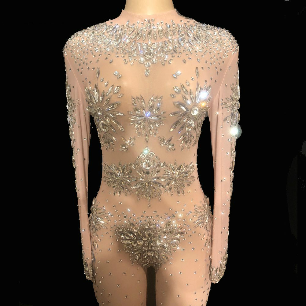 Sparkly Crystals Jumpsuit Female Stage Costumes Sexy Rhinestones Elastic Bodysuit Rompers Bar DJ Singer Party Stage Dance Wear