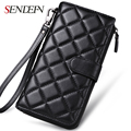 Sendefn Fashion Ladies Genuine Leather Sheepskin Wallet Plaid Clutch Long Wallet Female Card Holder Zipper Purses
