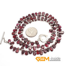 4X8MM Coin Shape Natural Garnet Stone Necklace 16 Inches Birthstone Of January Guardian Stone For Scorpio Free Shipping