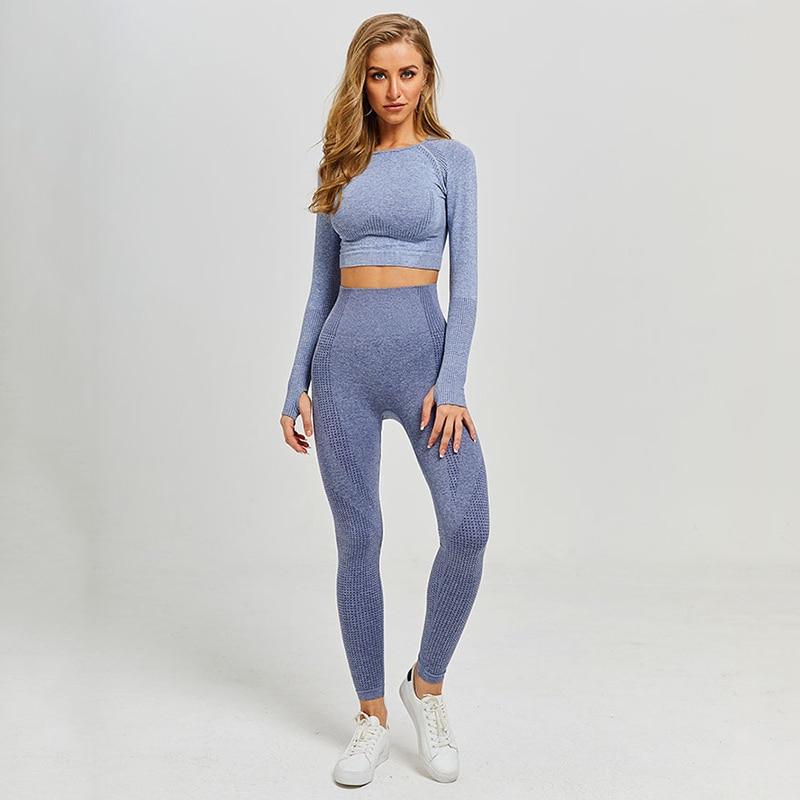 Conjunto feminino esportivo sem costura, peça conjunto feminino calça legging e top cropped academia yoga 5