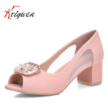 Plus size31-43 Hot sale women cut-outs open toe rhinestone female ladies shoes shallow party pink blue beige thick heels sandals