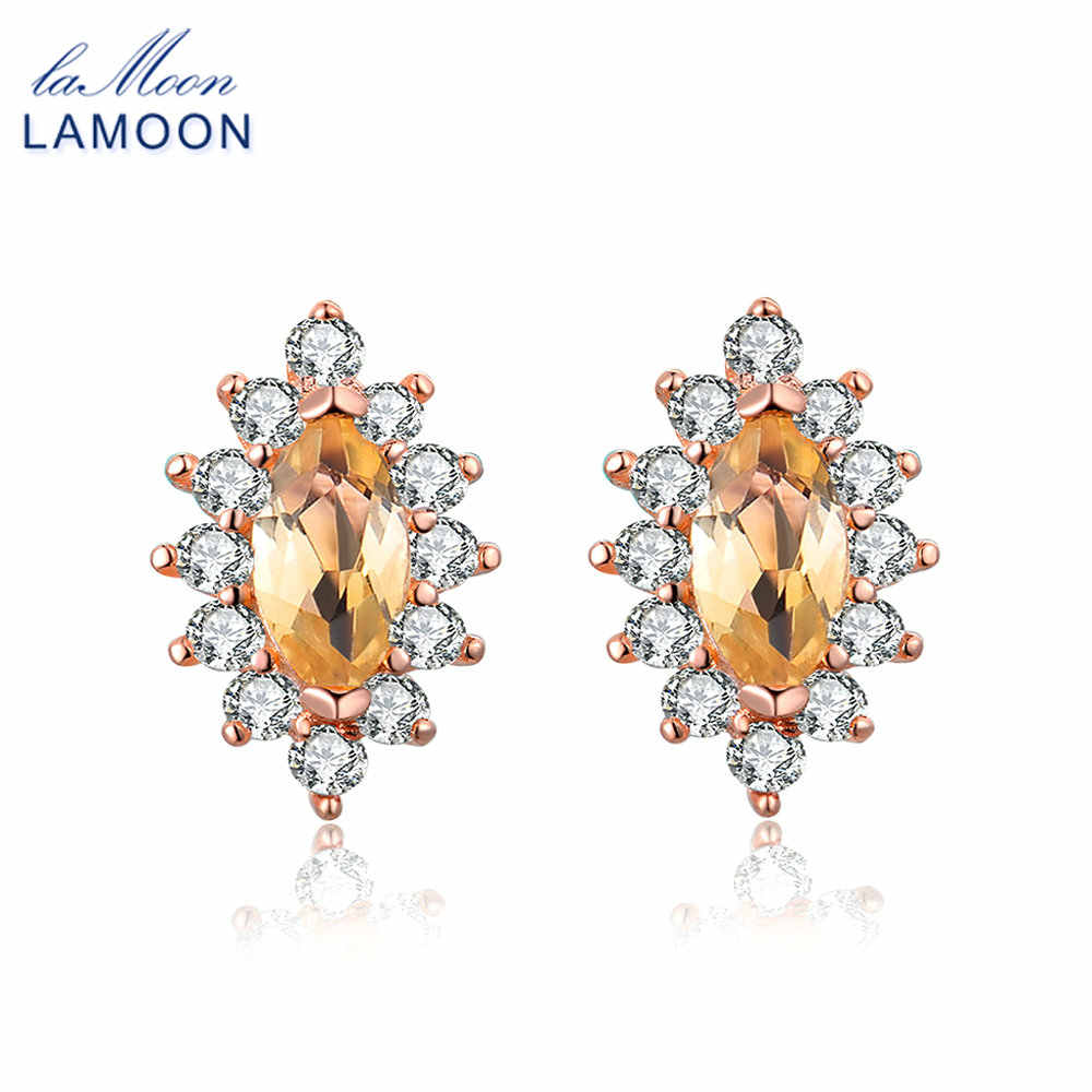 LAMOON S925 Stud Earrings for Women Marquise 100% Natural Citrine 925 sterling-silver-jewelry Party Trendy Fine Jewelry EI049