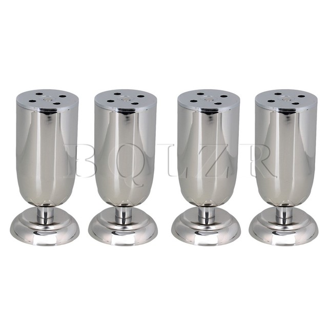 BQLZR 4 pcs Height Adjustable 120mm Silver Furnitire Legs Bed TV Feets Stainless Steel