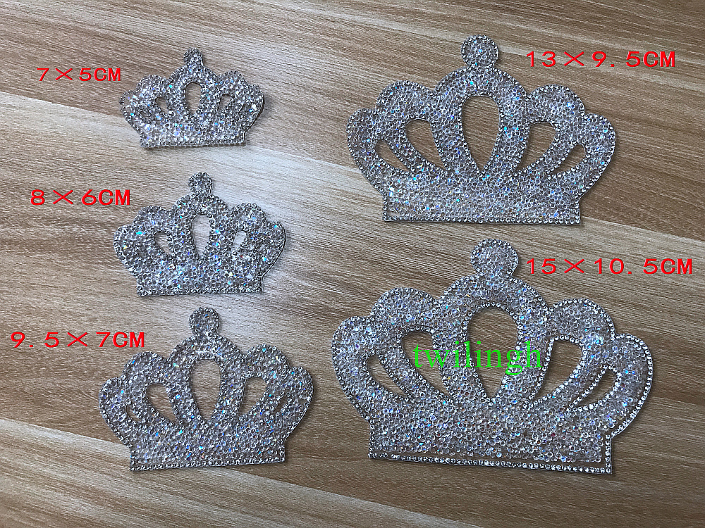1 Piece Children Cloth Crown Patches Hot Fix Rhinestone Motif Baby Suit Crystal  iron Crown Glass 9a0f8aac4057
