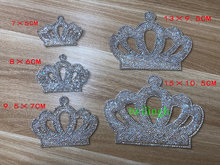 Crown Patches Hot Fix Rhinestone Newborn Baby Clothing Motif Baby Suit Crystal iron Crown Glass Patch Applique For Baby Clothes(China)