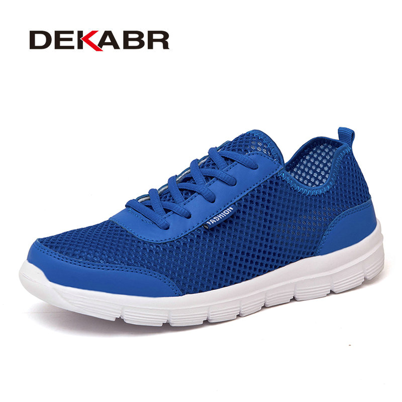 DEKABR Summer Men Shoes Breathable Unisex Casual Shoes Fashion Lace-up Flats Handmade Li ...