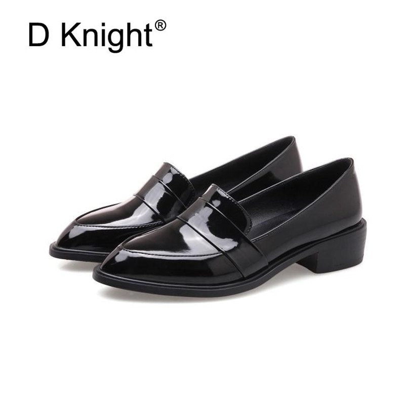 Large Size 32-43 Lady Casual Flat Loafers Shoes Fashion Patent Leather Pointed Toe Women's Flats British Black Red Women Oxfords (9)