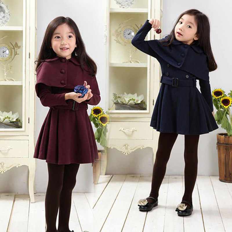 Autumn Girl Dress + Shawl Full Sleeve Baby Kids Dresses For Girls Clothes 2016 Cotton Fashoin Children's Clothing 4 6 8 10 years little maven kids brand clothing 2017 new autumn baby girls clothes cotton bird embroidered girl a line stripped dresses s0262