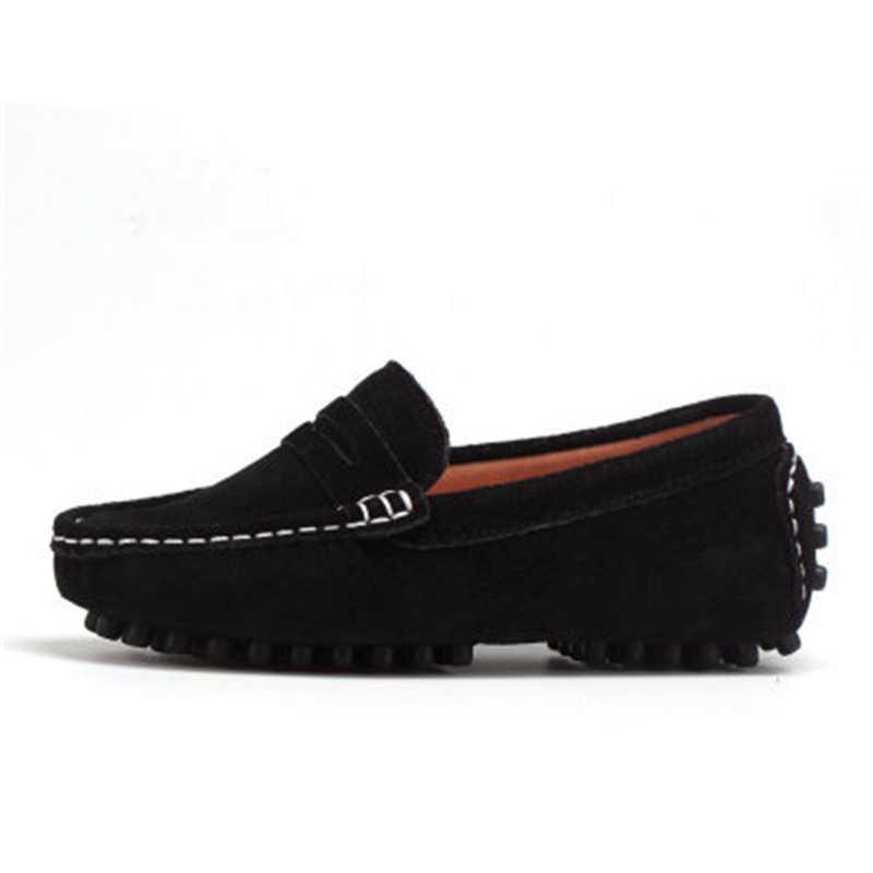 Size 27-39 Echt huid Kinderen Jongen Meisje Baby Instappers Instappers Flats En Najaar mode Jongens Sneakers voor Grote Kinderen