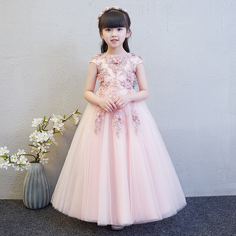 Fancy Short Sleeve Pink Flower Girls Formal Wedding Dresses Kids Bead Appliques Party Princess Birthday Prom Holy  Holiday DressFancy Short Sleeve Pink Flower Girls Formal Wedding Dresses Kids Bead Appliques Party Princess Birthday Prom Holy  Holiday Dress