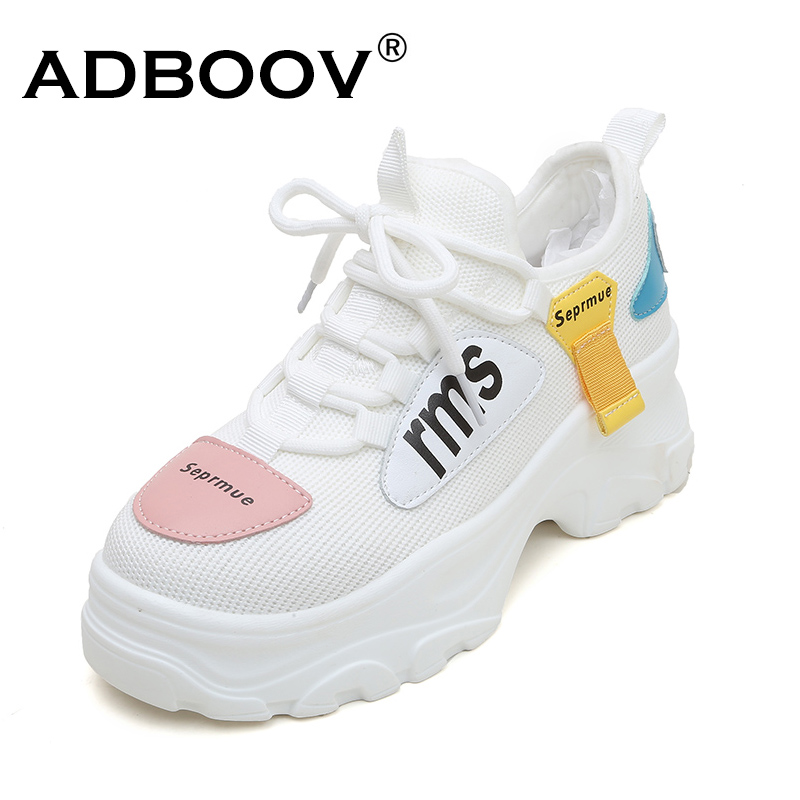 ADBOOV Knit Upper Platform Sneakers Women Thick Sole Casual Shoes Woman Chunky Sneakers White Pink Zapatos De Mujer De Moda 2019ADBOOV Knit Upper Platform Sneakers Women Thick Sole Casual Shoes Woman Chunky Sneakers White Pink Zapatos De Mujer De Moda 2019