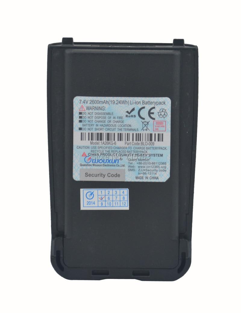 WOUXUN Aksesuāri BLO-009 DC7.4V 2600mAh augstas ietilpības litija jonu akumulators paketei WOUXUN KG-UV8D Divvirzienu radio