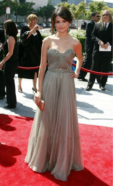 Custom selena gomez celebrity dresses sweetheart crystal sequins silver gray chiffon dress red - Silver red carpet dresses ...