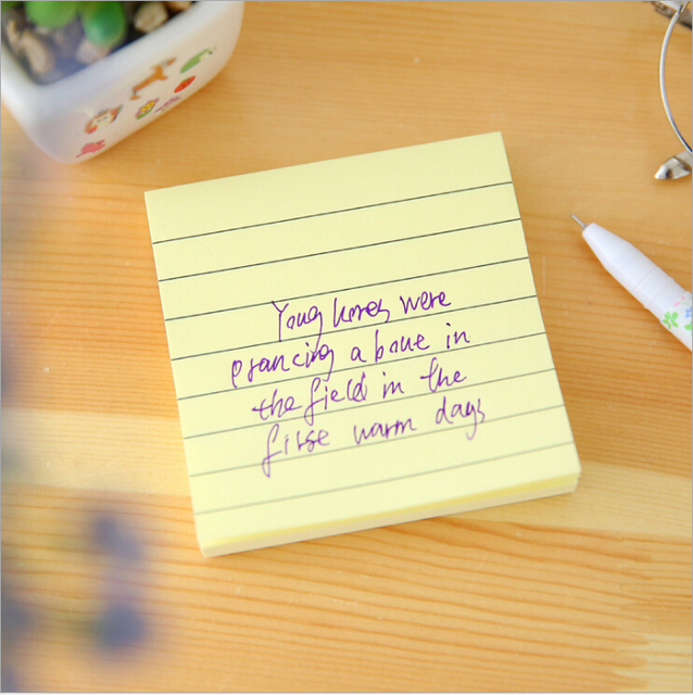 5 Colors Simple Kraft Paper Horizontal Line Stickers Sticky Notes - horizontal writing paper