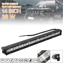 14 Inch 36W Car LED Strip Light Bar Single Row Off Road Led Lights Headlight Bulbs for Jeeps SUV Motorcycles Auto