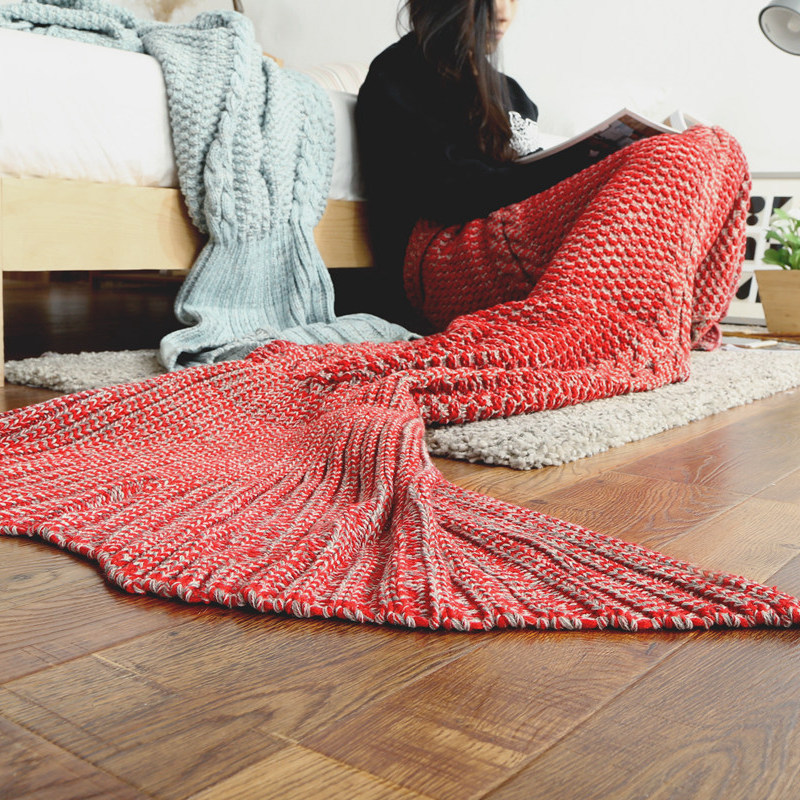 INS hot mermaid blanket on the bed/sofa,Yarn knitted handmade crochet mermaid tail blanket for kids/adults,60/80cm throw blanket