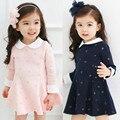 2016 Новое Прибытие весной и осенью девочка с длинным рукавом Dot печати платье детская одежда девушки партия платье принцессы 3-10лет