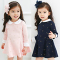 2016 New Arrival spring and autumn girl long sleeve Dot printing dress Children's clothing girl party princess dress  3-10years