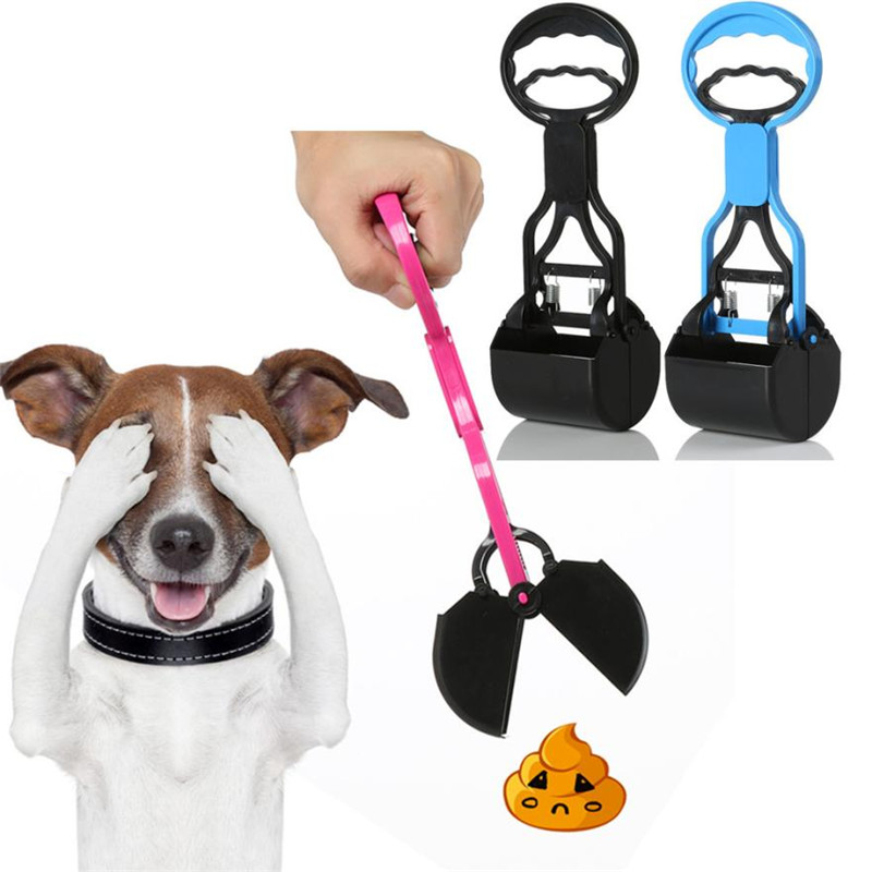 28cm Handle Walking Pet Dog Pooper Scooper Outdoor Portable Jaw Poop Clamp Tong Pick Up Doggy Shit Waste Plastic With Spring