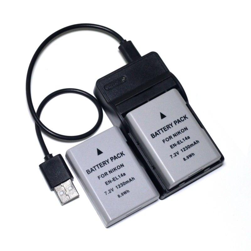 2 piezas EN-EL14a EN-EL14 batería + cargador USB para Nikon Df D3100 D3200 D3300 D3400 D5100 D5200 D5300 D5400 D5500 d5600 DSLR Cámara