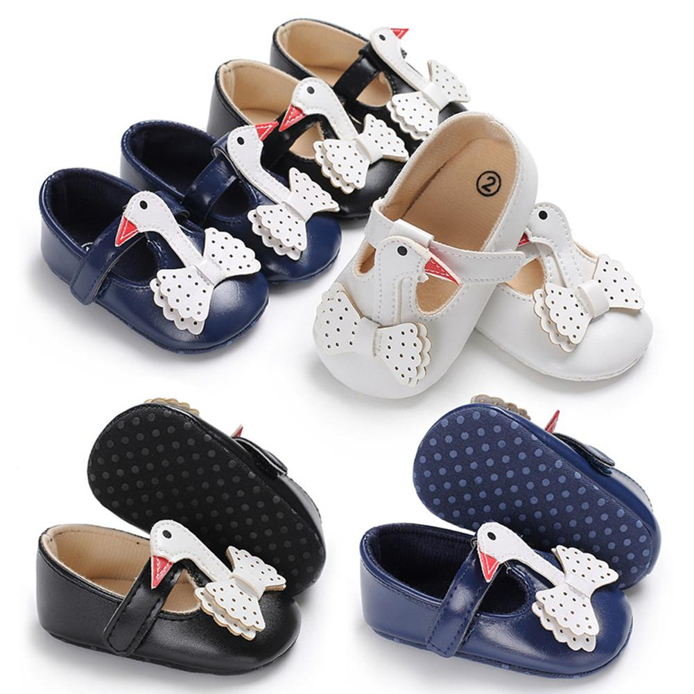 Cute Swan Bowknot Baby Toddler Girl Prewalker Anti-slip Soft Sole Crib Shoes