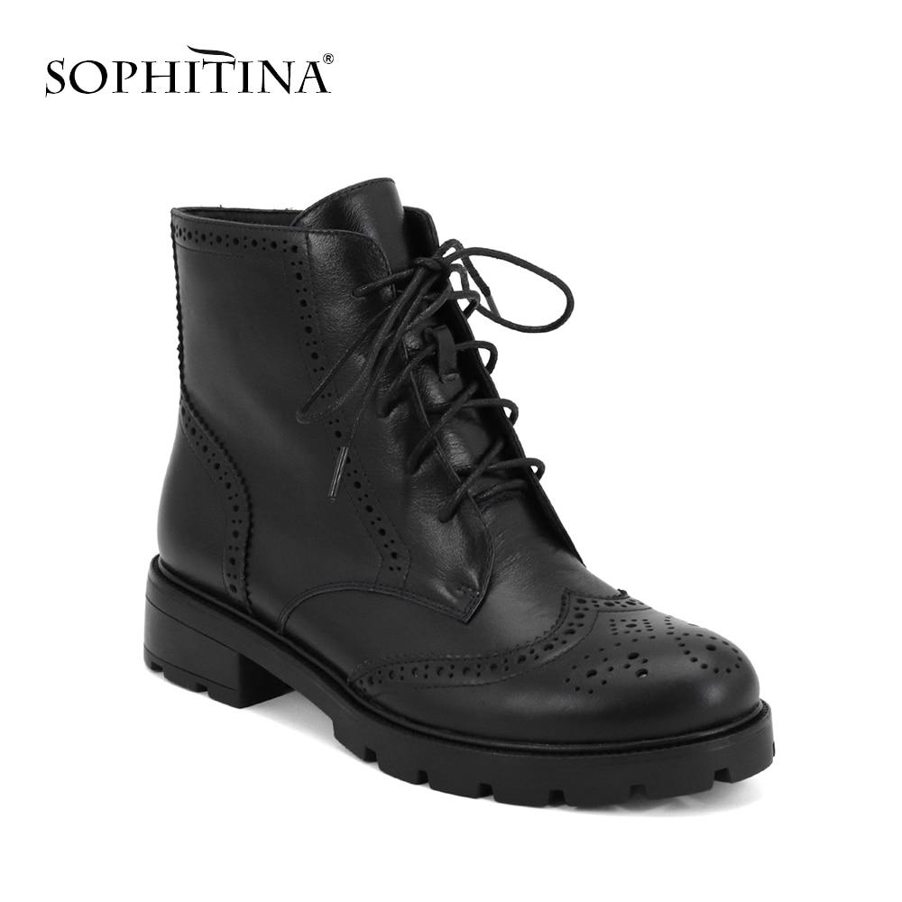 SOPHITINA nowych kobiet buty do kostki ze skóry naturalnej okrągłe toe wygodne buty w stylu casual zima krótki pluszowe ciepłe buty Martin buty M74 w Buty do kostki od Buty na  Grupa 1
