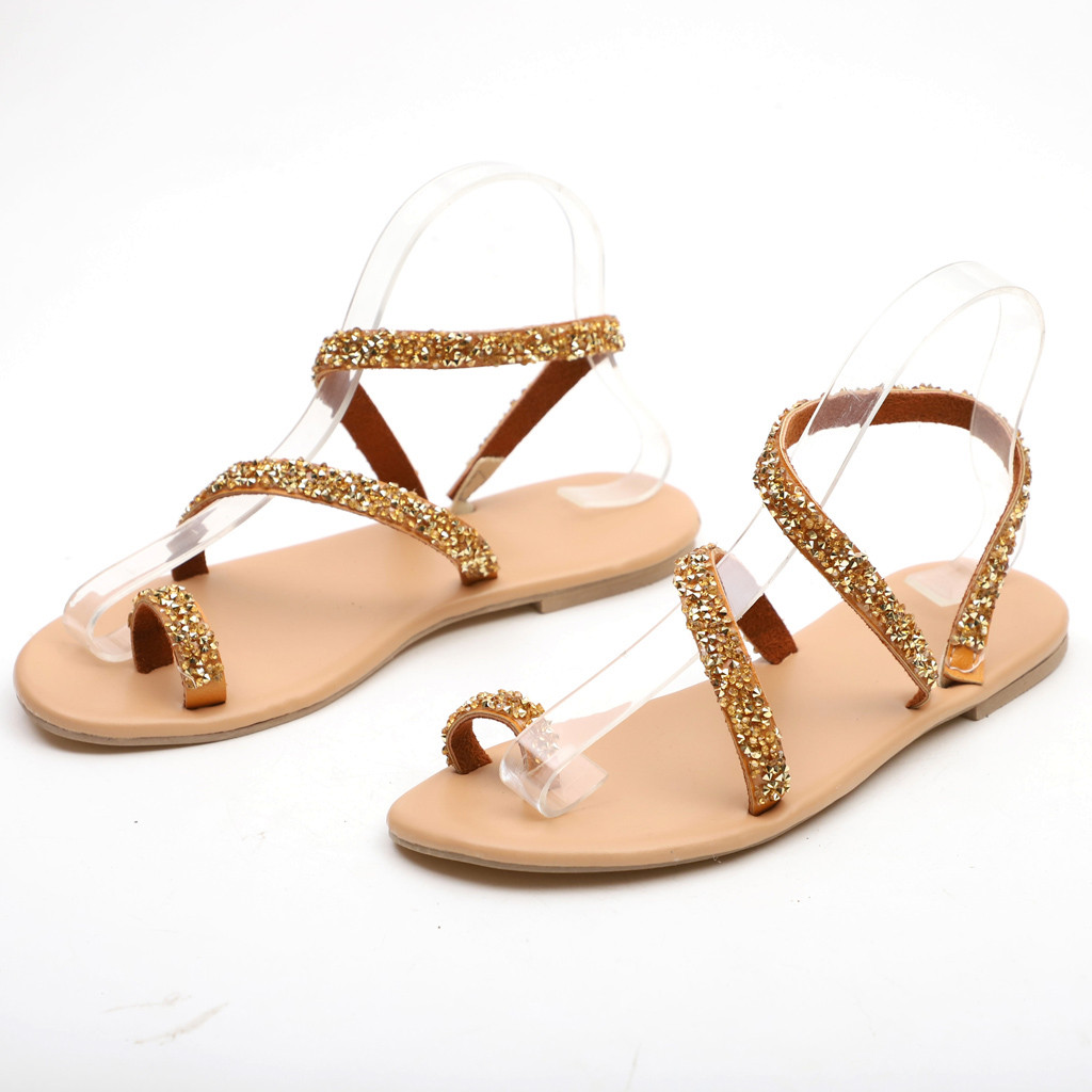SAGACE Women Rome Open Toe Rhinestone Decoration Sandals Flats Slip On Shoes Sandals Sexy High Quality Summer Ladies ShoesSAGACE Women Rome Open Toe Rhinestone Decoration Sandals Flats Slip On Shoes Sandals Sexy High Quality Summer Ladies Shoes