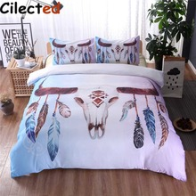 cilected bohemian feather skull duvet cover set double queen king 23pcs bedclothes skull bedding sets no sheet bed linen