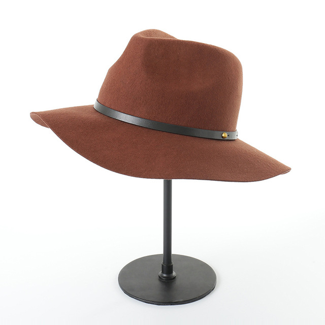 Muchique Fedora Wool Felt Panama Hats Black Women Winter Floppy Hat 2017  Ladies Hats Wide Brim Vintage Hat 975011 7127b8e51a1