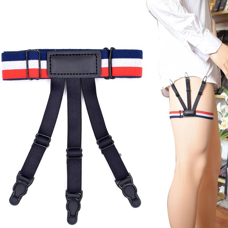 Fashion Shirt Stays Holder Man's Leg Suspenders Fashion Shirt Braces Elastic Uniform Business Strap Shirt Garters 1pair