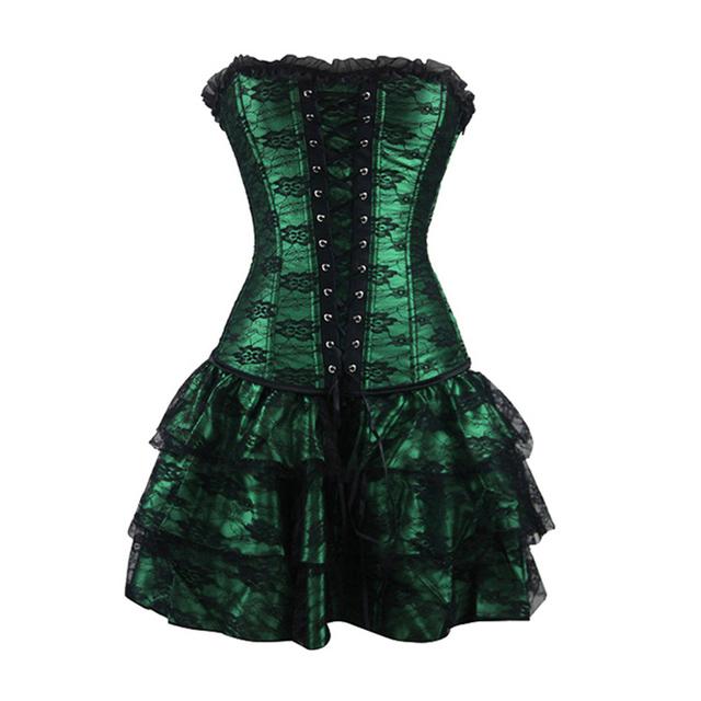 Sexy Overbust corsé y más pechugón noche de encaje mujeres vestido ocasional más el tamaño empuja hacia arriba el corsé gótico vestido con falda del tutú