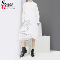 New Euro Women Spring Black White Dress Turn Down Collar Half Sleeve Cute Ladies Knee Length