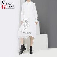 New Euro Women Spring Black White Dress Turn Down Collar Half Sleeve Cute Ladies Knee Length