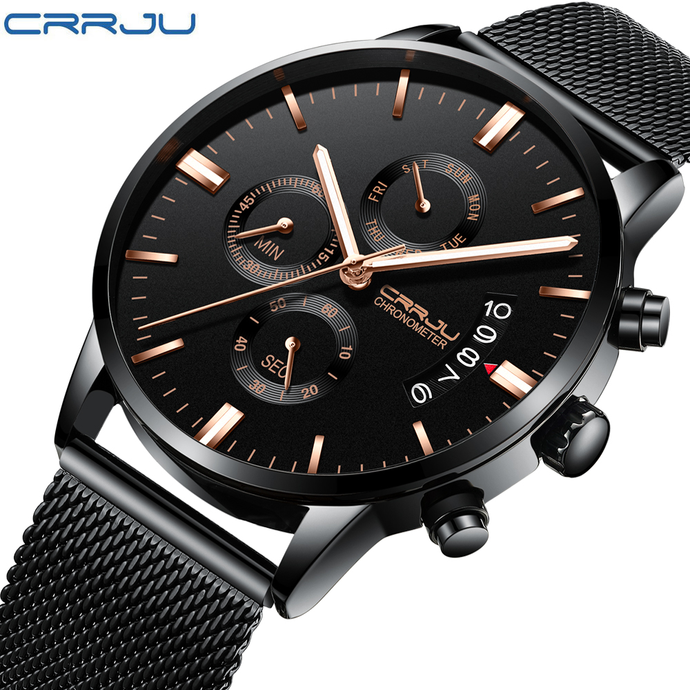 CRRJU Neue Männer der Kalander Wasserdicht Sport Armbanduhr mit Milan strap Armee Chronograph Quarz Schwere Uhren Mode männlichen Uhr
