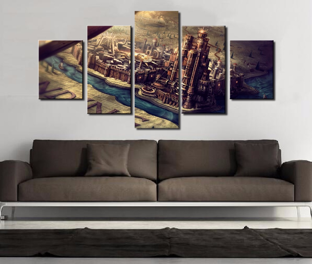 popular game of thrones home decor wall art picture buy cheap game wall art posters painting on canvas frame home decor 5 panel cartoon game of thrones pictures