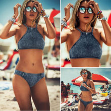 Vintage Jean Bikini 2016 Beach Swimwear Women Swimsuit Push Up Swimming Bathing Suit Brazilian Tankini Set Maillot De Bain Femme