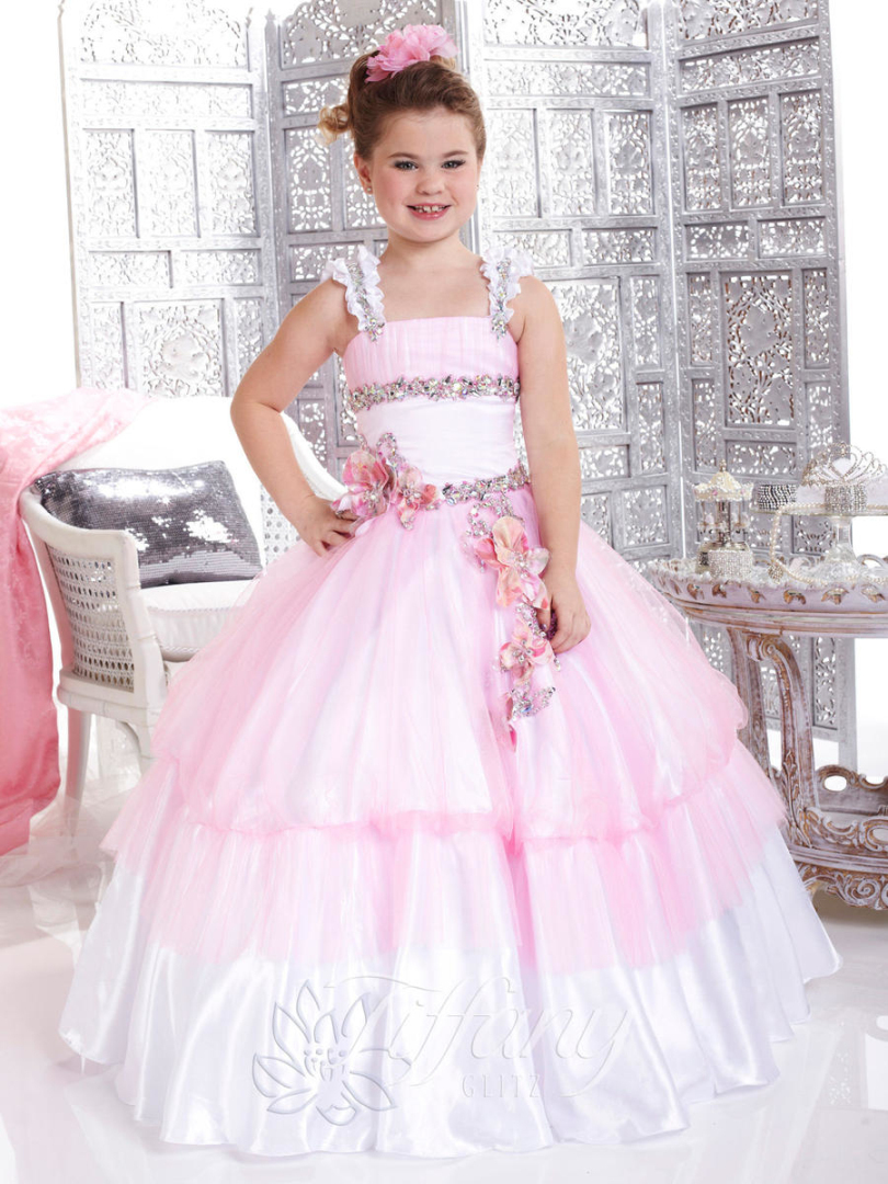 Lovely Pink Big Girls Pageant Dress Spaghetti Flowers Kids Party ...