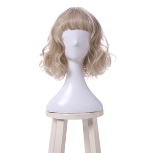 Image 5 - L メールかつら薄型空気フリンジ強打女性かつら 5 色 40 センチメートル/15.74 インチショートカーリーヒートにくい人工毛 Perucas コスプレかつら