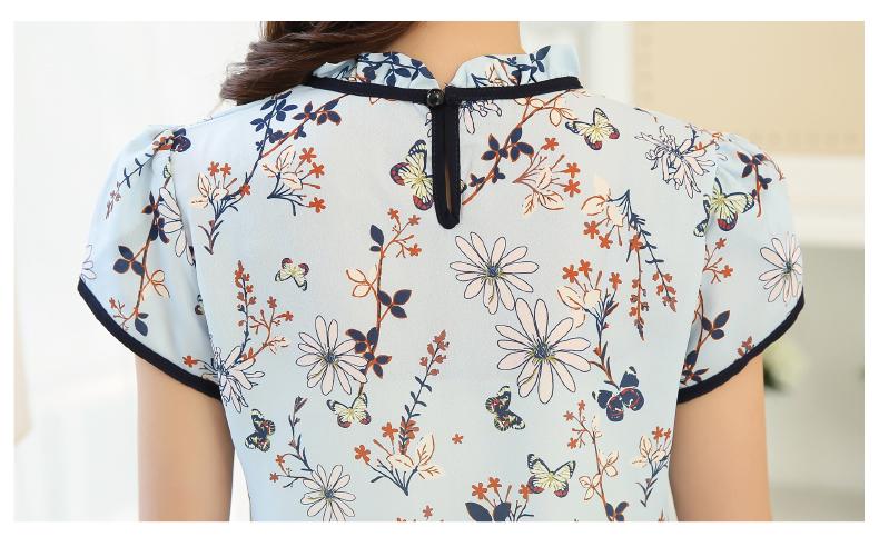 HTB1 5aMPVXXXXaeXFXXq6xXFXXX6 - Summer Floral Print Chiffon Blouse Ruffled Collar Bow Neck Shirt