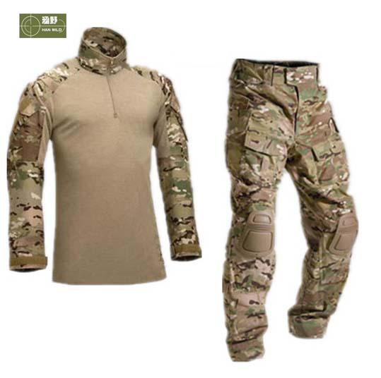 HANWILD Tactical Camouflage Hunting Sets Men Army Sport Multicam Hunting Clothes Set Outdoor Shirt + Pants Knee Pads Suits