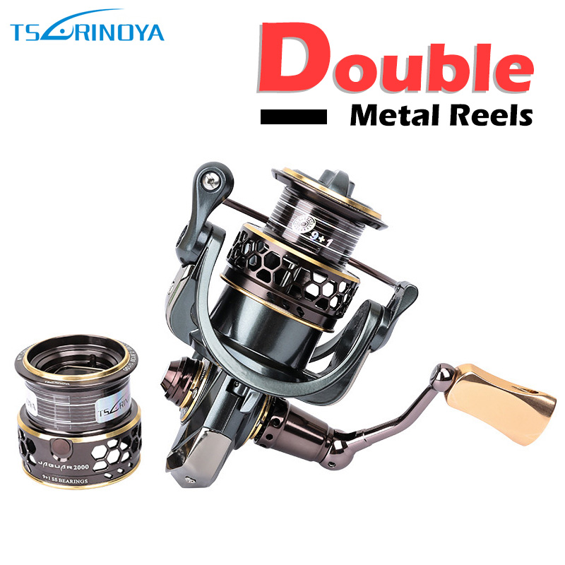 Spinning Fishing Reel 9+1BB Gear Ratio 5.2:1 Double Metal Spool Lure Reel Carretes De Pescar Reels TSURINOYA 2000 3000 kastking kodiak 2016 hot sale 2000 5000 series aluminum spool superior ratio 5 2 1 spinning fishing reel spinning reel