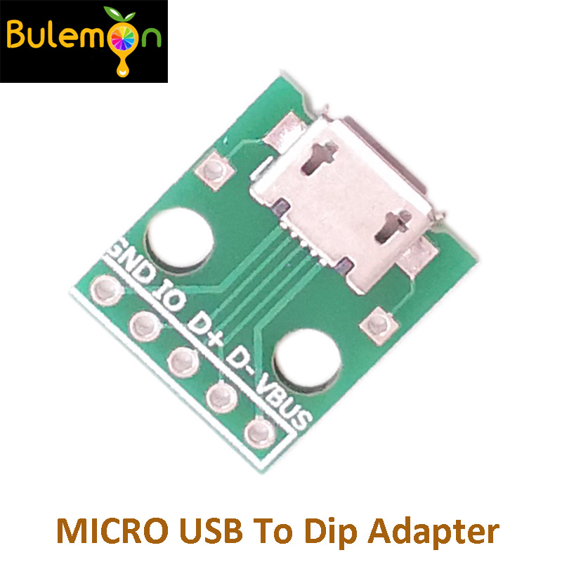 5pcs/lot MICRO USB To Dip Adapter 5pin Type B Female Connector PCB Converter  Patch To Line Transit Board