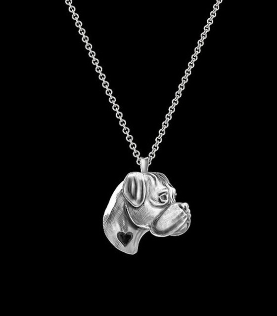 Pashal Boxer Dog Etched Silver Chain Pendant Dog Necklace by atCIK8
