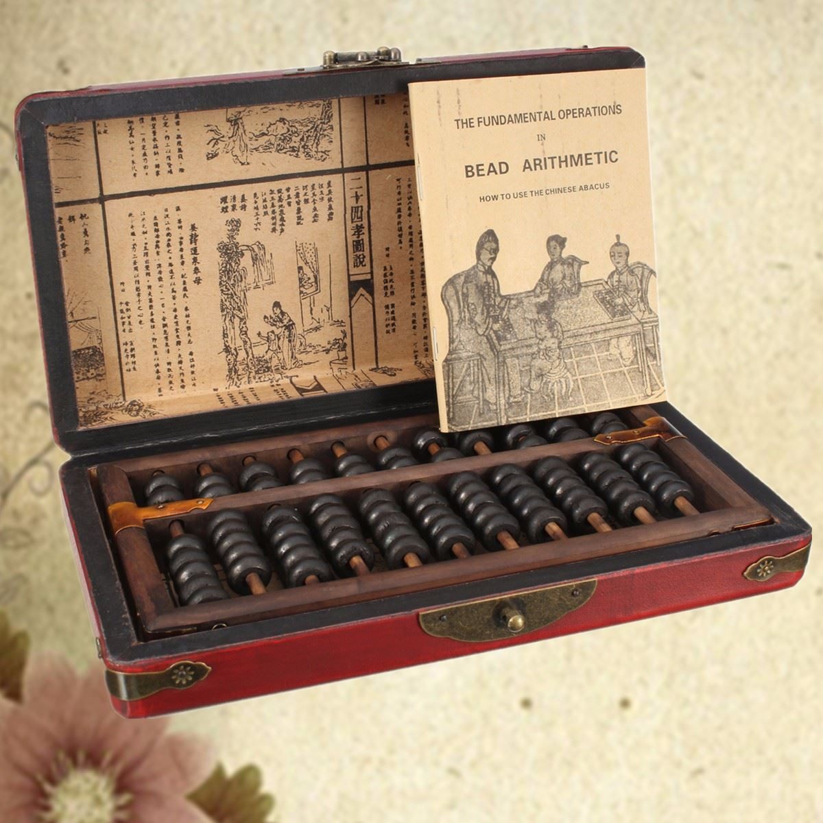 Jimitu Vintage Chinese Wooden Bead Arithmetic Abacus With