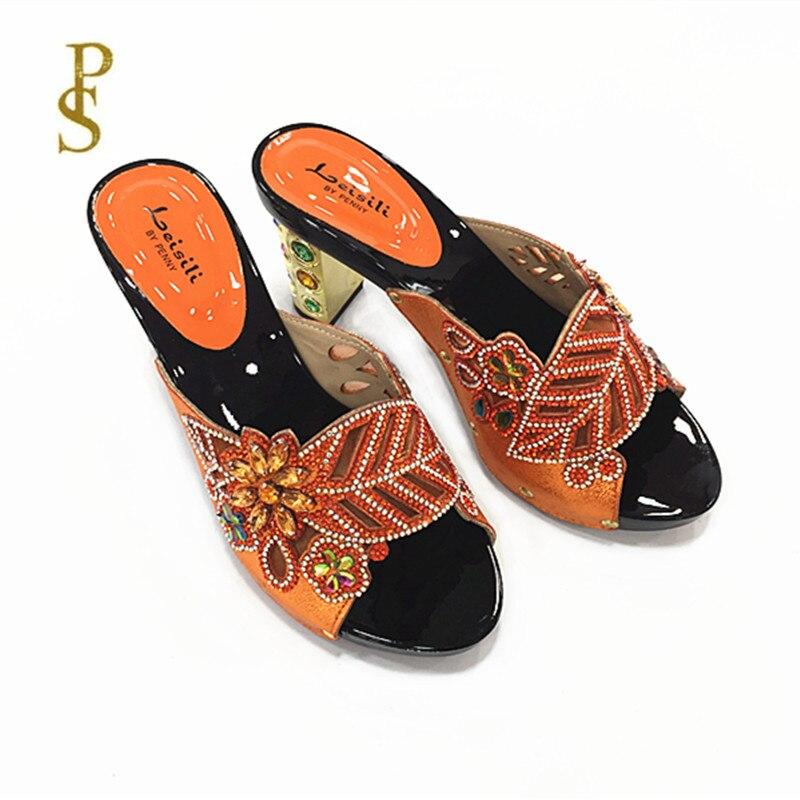 Image 5 - Женская обувь на высоком каблуке, красивая женская обувь со стразами, обувь для вечеринокТапочки   -