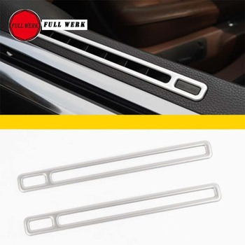 1 Pair SS Car Styling Door AC Air Vent Trim Cover for VW Phaeton Master Copilot Upper Outlet Decoration Frame Strip Sticker